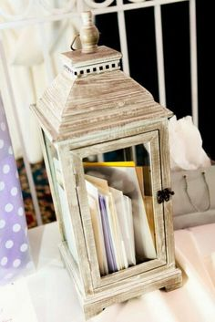 Love the idea of a lantern as a wedding card holder - 19 Wedding Gift Card Box Ideas. See more at http://blog.myweddingreceptionideas.com/2016/01/19-wedding-gift-card-box-ideas.html