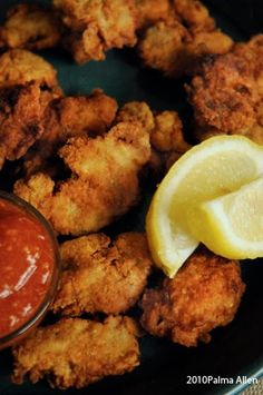 In the fall I always think of Fried Oysters and my recipe is the best. My Stud M… In the fall I always think of Fried Oysters and my recipe is the best. My Stud Muffin loves my Fried Oysters and he frequently requests them… Fish Dishes, Seafood Dishes, Fish And Seafood, Seafood Recipes, Appetizer Recipes, Great Recipes, Cooking Recipes, Party Appetizers, Main Dishes