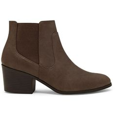 Forever21 Faux Leather Chelsea Boots (38 CAD) ❤ liked on Polyvore featuring shoes, boots, ankle booties, ankle boots, deep taupe, stacked heel booties, platform bootie, vegan boots and bootie boots