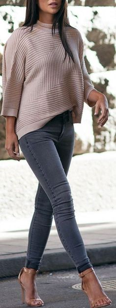 Jeans   Knitted Sweater                                                                             Source