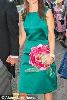 Pippa, 33, attended the nuptials of Camilla Campion-Awwad in Cork and was clearly keen to channel the spirit of the Emerald Isle by donning a bright green dress with an oversized flower pattern.