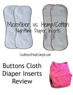 Microfiber vs. Hemp Cloth Diaper Inserts - A Buttons Cloth Diaper Review #clothdiapers