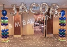 Name Banner attached to Square Pack Columns for Bar Mitzvah