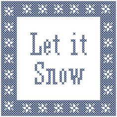 Modern Christmas Cross Stitch Pattern Let It Snow Snowflakes Cross Stitch Ornament