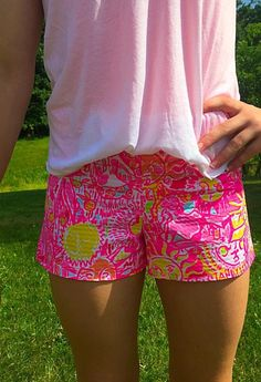 "Lilly Pulitzer ""Pink Lemonade Trunk in Love"" print shorts."