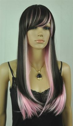 Layla // Black and Pink Full Synthetic Wig by ginabarto on Etsy, $64.00