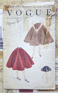Vogue 1522  Vintage 1950s Womens Full Skirt Pattern by Fragolina, $8.50