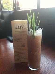 "Anvil Bar & Refuge Houston - the drink is called Grass Roots:  ""Amaro Nicaraguan rum, coconut, raspberry, lime,almond,  grass jelly.  Filipino jellies meet an amaro based tiki drink.""  Anvilhouston.com.  Mixologist Heavan."