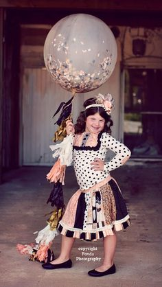 """Giant Confetti Filled Balloon with Tassel Custom Colors 36"""" Balloon with 6 Foot Fringe Navy, Peach, Antique Gold"""