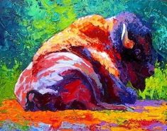 Bison Reclining by Marion Rose Acrylic ~ 11 x 14