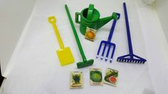 Irwin Toy Garden Set Fits 3/4 to 1 inch scale Plastic Mint but no card Hoe Rake Shovel watering can Fork #dollhouseminiatures #etsyseller
