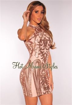An unforgettable look to last forever, drip into our shimmering sequins with this rose gold victorian dress. The nude illusion lining forms and contours perfectly to your bod, no other dress screams perfection like this one. $60