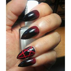 Gothic Black/Red Stiletto Pentagram Nails False Ombre Stiletto Nails... ❤ liked on Polyvore featuring nail polish, nails and uñas