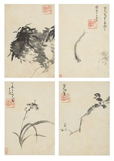 Zhu Da, Flowers, Birds, Fish and Fruit, 1703, ink on paper, album of twelve leaves (select leaves)