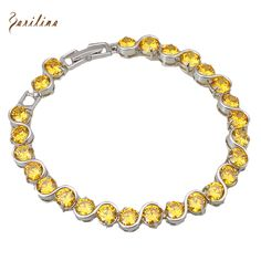 Glam Luxe Mysterious Gold Overlay Citrine Bracelets & bangles Yellow CZ stones 19.5cm 7.67 inch B069