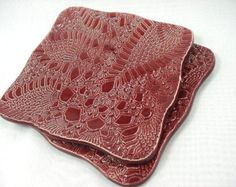 Marsala Dishes, Burgundy Lace Ceramic Dishes, Cranberry Plates, Burgundy Pottery, Lace Dish, Burgundy Home Decor,Square Plate,Cranberry Dish