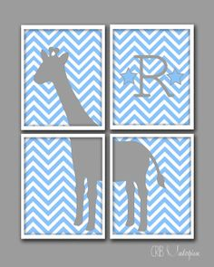 "Giraffe Art with Personalized Letter for Baby Boy Nursery - You Pick the Colors. It's from my Etsy shop ""Crib Masterpiece."" Check it out!"