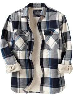 Men's Flannel Sherpa-Lined Shirt Jacket. Rugged Style, Style Pastel, Casual Outfits, Men Casual, Navy Outfits, Grunge Outfits, Casual Wear, Casual Shirts, White Shirt Men