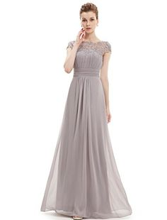 Ever Rather Women's Cap Sleeve Lace Neckline Ruched Bust Evening Gown 09993