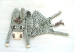 Gray donkey — animal scarf, original scarf, winter accessory, warm scarf, burro, for animal lovers - pinned by pin4etsy.com