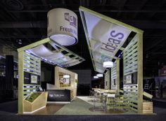 This is MG Design's 20' x 30' Fresh Ideas exhibit from EXHIBITOR2010. Winner of the Best of Show Award and Sizzle Award for integrated marketing. This trade show booth was also eco-friendly with, FSC certified lumber, low energy LED lighting, 100% renewable cork flooring and  corn sugar-based Smartstrand™ carpeting, natural baking soda and a waterbased stain dye process, fully recyclable fabric and aluminum framework, natural produce and flowers and biodegradable smoothie cups…
