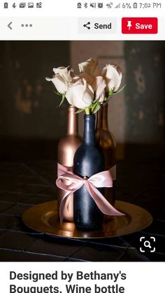 48 Excellent Wedding Centerpiece Ideas That Using Wine Bottles - Here's a great way to reuse all of those empty beer and wine bottles you have laying around: turn them into vases. Beer and wine bottle vases are inex. Wine Bottle Vases, Wine Bottle Centerpieces, Wedding Wine Bottles, Unique Centerpieces, Wedding Table Centerpieces, Wine Bottle Crafts, Flower Centerpieces, Wedding Decorations, Centerpiece Ideas