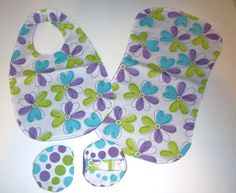 Floral Baby Bib Burp Cloth and Washies by daydaysdesigns on Etsy, $18.00