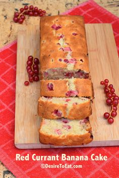 Red currant banana cake