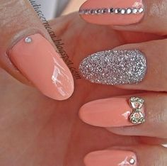 Coral and silver glitter nails with bows