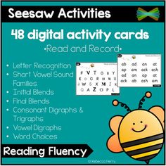 Do you need to build reading fluency in your classroom? This pack of 48 ready to use activity cards provides students with the opportunity to develop and review their sounds and phonics! Designed to work in SeeSaw Activities, assign up to ten pages at once and have students read and record the sound...