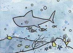Shark illustration mini art print by studiotuesday on Etsy, $14.00