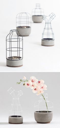Home Decorating DIY Projects : is a lovely interpretation of a vase made from iron, concrete and walnut, by Seung Yong Song -Read More – Concrete Art, Concrete Projects, Concrete Design, Diy Projects, Concrete Planters, Beton Design, Contemporary Vases, Home Accessories, Decoration