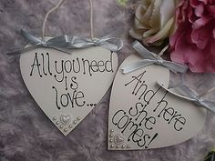 """""""ALL YOU NEED IS LOVE & HERE SHE COMES"""" Heart Wedding Sign Page boy/Flower girl"""