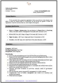 Two Page Resume Sample Bba Resume Example Page 1  Career  Pinterest  Word Doc