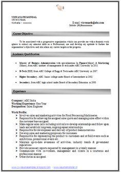 resume cv format with career objective job pr pinteres