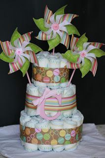 Designed by maryross: Baby Shower diaper cake windmiles, baby girl decorations, details and more pics
