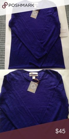 "ELLEN TRACY NWT MERINO WOOL SWEATER Details: This purple lightweight sweater is a perfect staple for your fall wardrobe. It also has a card attached that says ""Joy"" to give as a holiday gift. Material: 100% Extra Fine Merino Wool Size: M (But I feel it could also fit an XS-Small) Measurements:  24.5"" from top to bottom of hem front; 19.5"" pit to pit NWT Ellen Tracy Sweaters Crew & Scoop Necks"