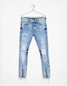 Super skinny jeans with zips – Denim Collection – Bershka United Kingdom Vintage Street Fashion, Rainbow Fashion, Jeans And Sneakers, Girls Jeans, Trends, Super Skinny Jeans, Denim Fashion, Jeans Style, Denim Jeans