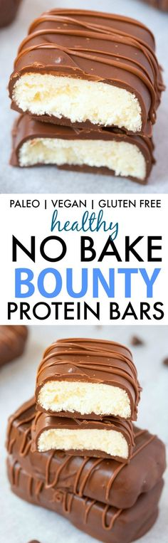 Homemade No Bake Bounty Protein Bars (V, GF, Paleo)- Easy, fuss-free and delicious, this healthy protein packed candy bar copycat combines. Paleo Protein Bars, Protein Snacks, Protein Cake, Protein Muffins, High Protein, Protein Cookies, Homemade Protein Bars, Protein Deserts, Health Cookies