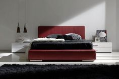 Red leather bed