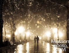 Couple walking at alley in night lights. Photo in vintage multic by Vladimir Nikulin / Masson, via 500px