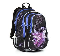 Fantastyczne motyle na plecaku CHI 795 A - Black przeznaczonym dla dziewczyn od 2 do 6 klasy.