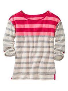 Three-quarter sleeve striped top | Gap