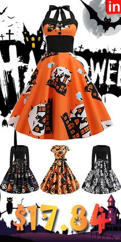 Women's Halloween Vintage Slim A Line Dress Mode Halloween, Halloween Fashion, Halloween Dress, Halloween Cosplay, Halloween Outfits, Vintage Halloween, Halloween Clothes, Holiday Outfits, Halloween Crafts
