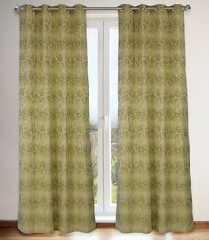 Marli '60's Inspired Floral Grommet Curtain Panels (Set of 2) 54x95-in, Linen Beige/Greens