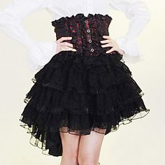 Knee-length Black and Red and White Cotton Steampunk Steampunk Skirt