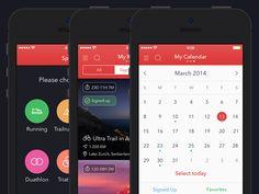 Hey!Race App for iPhone [Sports, My Races, Calendar Screens]