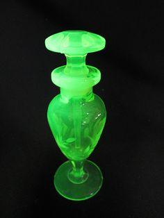 Antique True Vaseline Glass Perfume Bottle Flagon