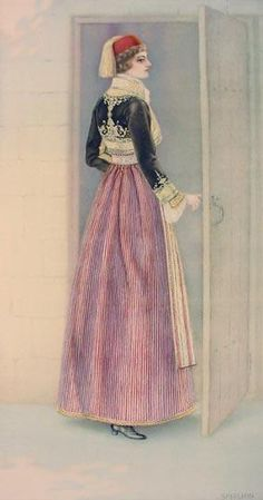 NICOLAS SPERLING Woman's Town Dress (Macedonia, Siatista) 1930 lithograph on paper after original watercolour Greek Traditional Dress, Traditional Outfits, Ancient Greek Costumes, Costumes Around The World, Costume Collection, Folk Costume, Historical Clothing, Dance Dresses, Folklore
