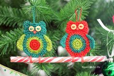 The same old Christmas decorations every year can be boring. Instead of hanging up plain old glass ornaments, try working up this fun Crochet Owl Candy Cane Ornament.